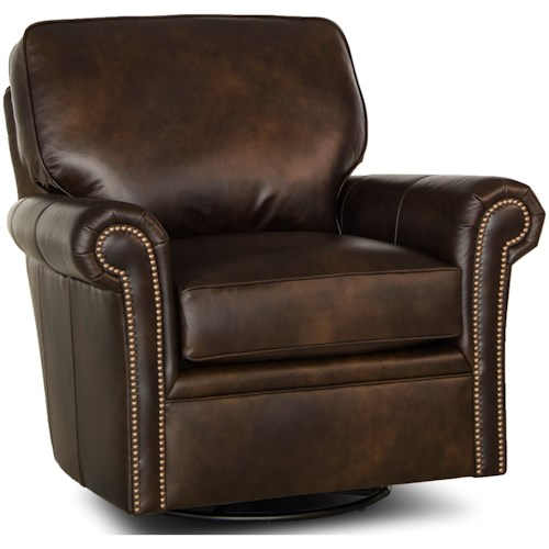 Smith Brothers 528 Traditional Swivel Glider Chair with Rolled Arms