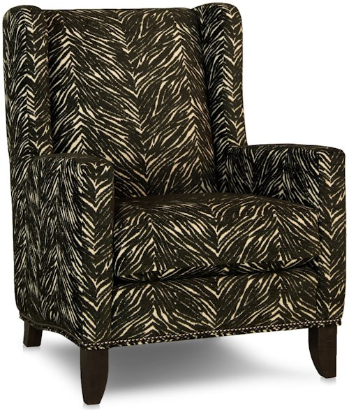 Smith Brothers 538 Traditional Wing Back Chair with Track Arms