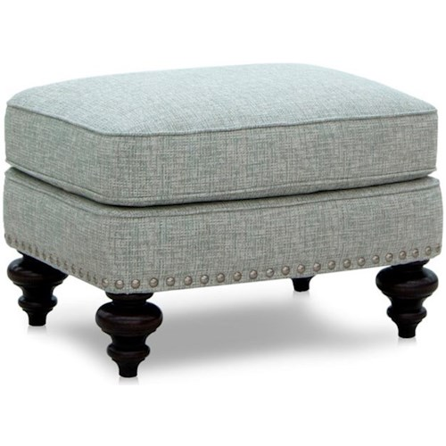 Smith Brothers 539 Traditional Ottoman with Turned Legs