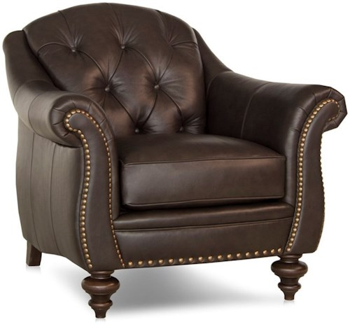 Smith Brothers 539 Traditional Chair with Tufted Back and Turned Legs
