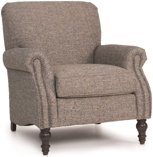 Smith Brothers 568 Upholstered Chair with Rolled Arms and Turned Wood Legs