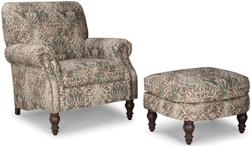 Smith Brothers 568 Upholstered Chair and Ottoman with Turned Wood Legs