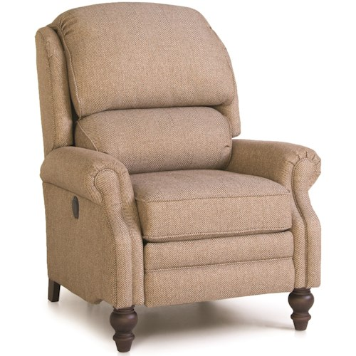 Smith Brothers 705 Pressback Reclining Chair with Rolled Arms
