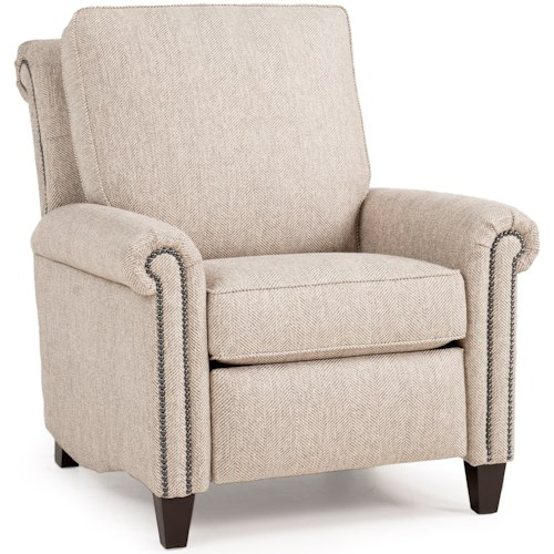 Smith Brothers 726 Traditional Motorized Recliner with Scroll Back Design and High Tapered Legs