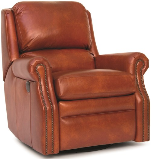 Smith Brothers 731 Traditional Motorized Swivel Glider Reclining Chair with Nailhead Trim