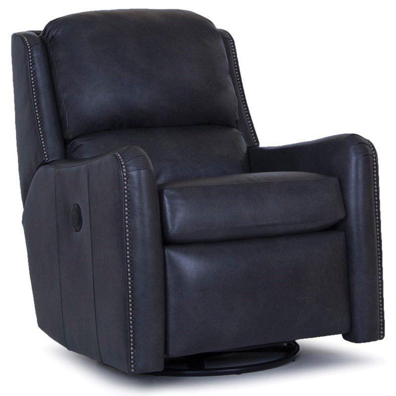 Transitional Power Swivel Glider Recliner with Nailhead Trim