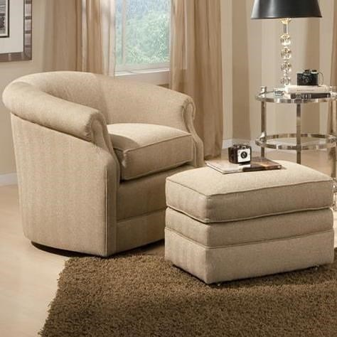 Smith Brothers 820 Traditional Swivel Chair and Ottman Set