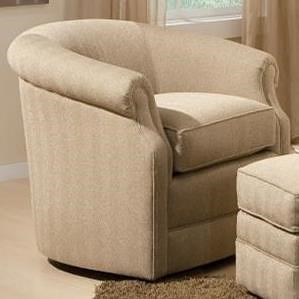 Smith Brothers 820 Traditional Swivel Chair with Barrel Back and Rolled Scooped Arms