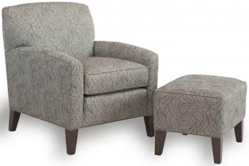 Smith Brothers 822 Casual Chair and Ottoman with Tapered Wood Legs