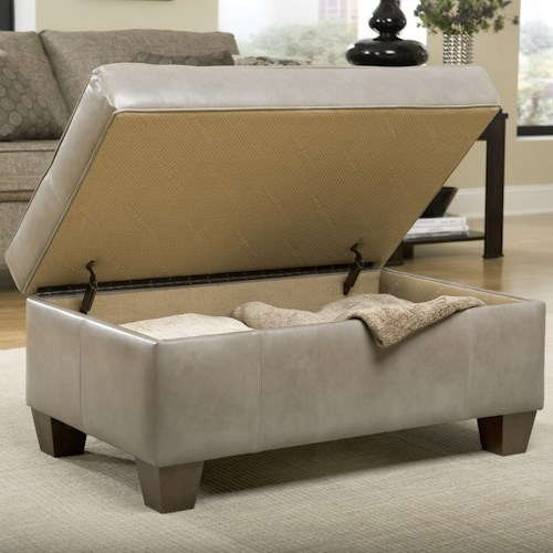 Smith Brothers 900 Ottomans Storage Ottoman with Tapered Wood Legs