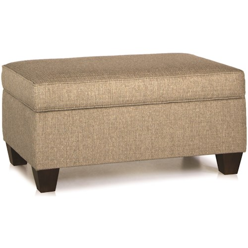 Smith Brothers 900 Storage Ottoman with Tapered Wood Legs