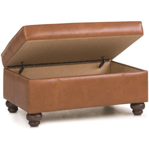 Smith Brothers 900 Storage Ottoman with Turned Legs