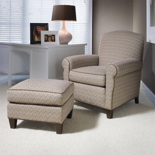 Smith Brothers 933 Upholstered Chair & Ottoman w/ Tapered Legs