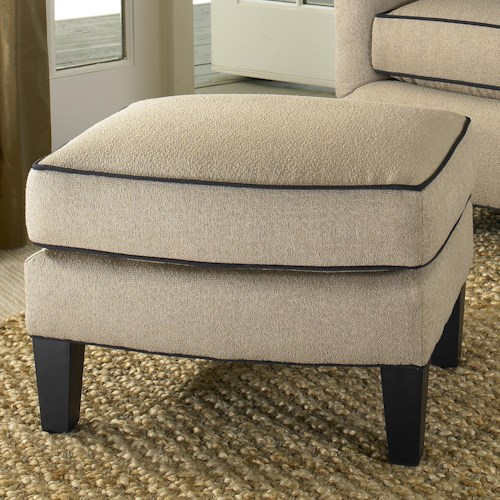 Smith Brothers 942 Contemporary Ottoman with Tapered Wood Legs