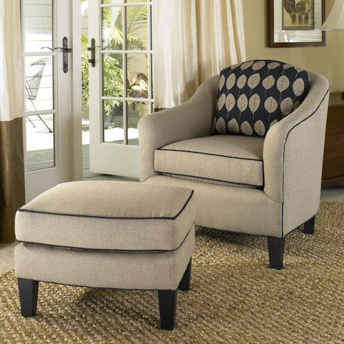 Smith Brothers 942 Contemporary Barrel Chair and Ottoman with Tapered Wood Legs