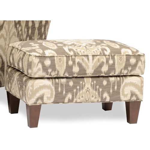 Smith Brothers 944 Upholstered Ottoman with Tapered Wood Block Legs