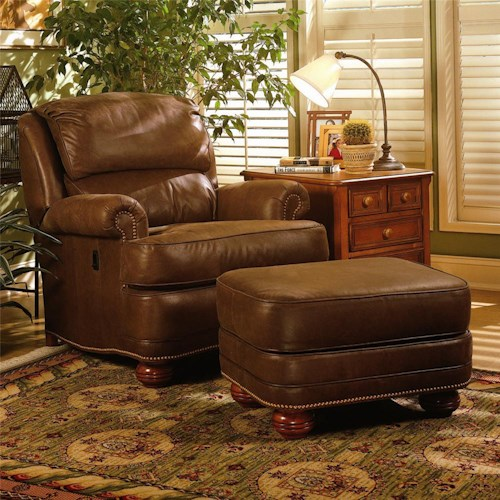 Smith Brothers 988 Upholstered Tilt-Back Reclining Chair & Ottoman