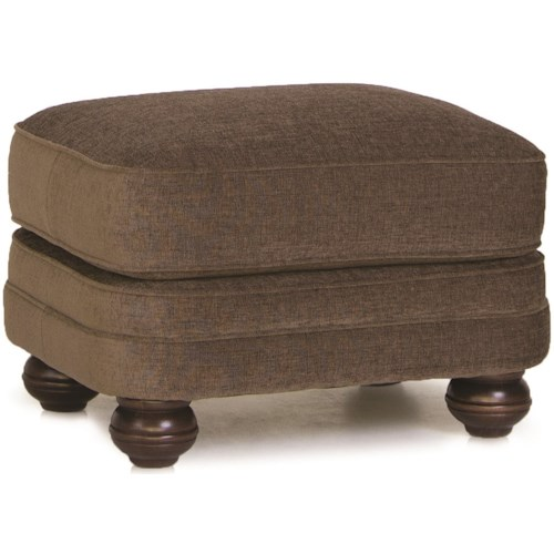 Smith Brothers 988 Upholstered Ottoman with Bun Feet