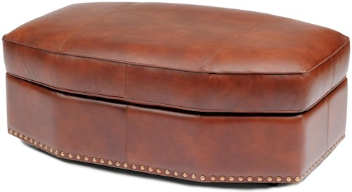 Smith Brothers Accent Chairs and Ottomans SB Octagonal Leather Ottoman with Nailhead Trim