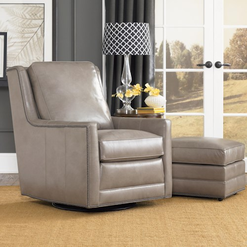 Smith Brothers Accent Chairs and Ottomans SB Transitional Swivel Chair and Ottoman Set