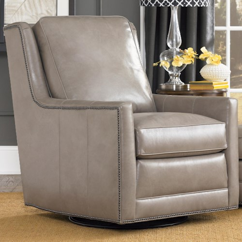 Smith Brothers Accent Chairs and Ottomans SB Transitional Swivel Chair with Nailhead Trim