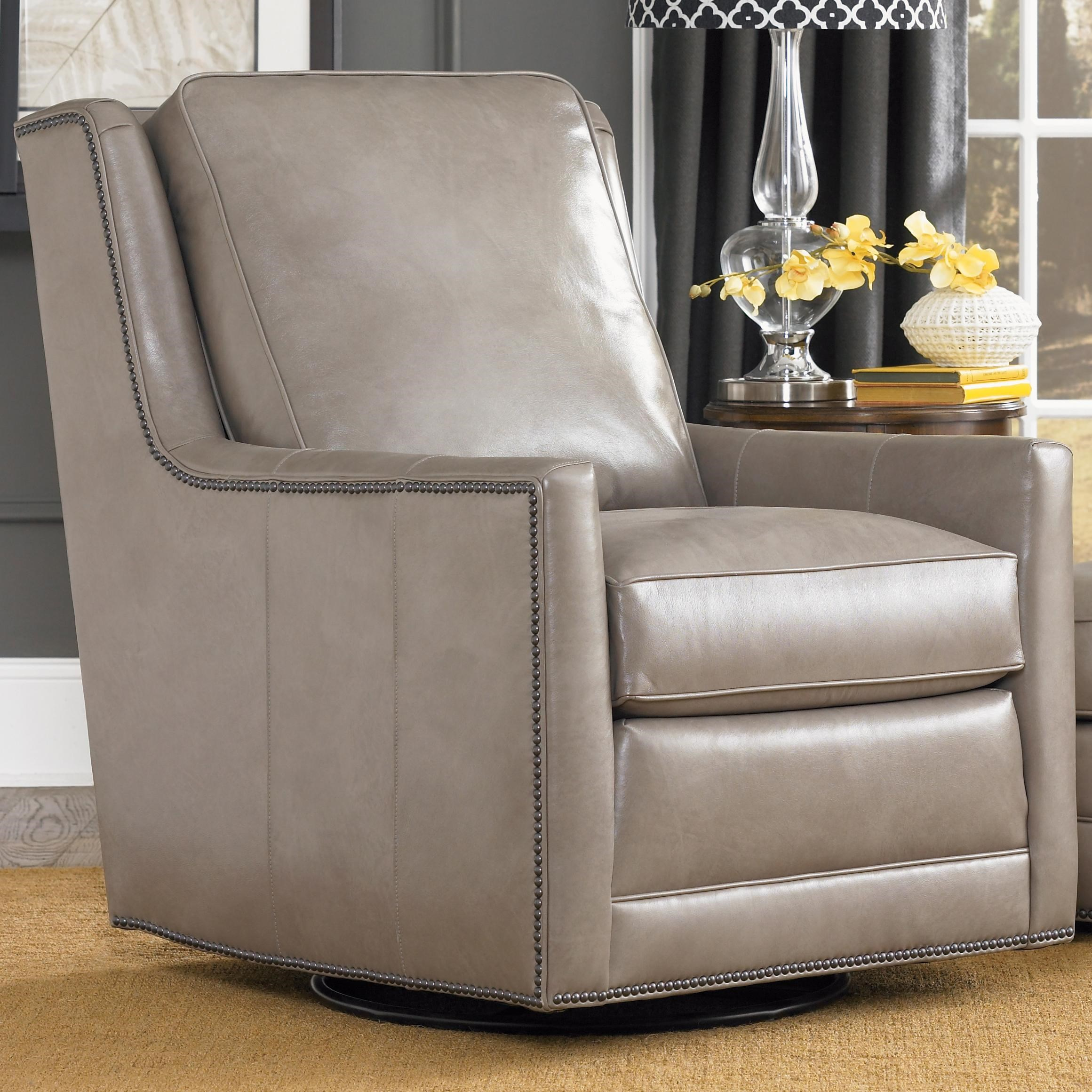 Attrayant Smith Brothers Accent Chairs And Ottomans SB Transitional Swivel Chair With  Nailhead Trim