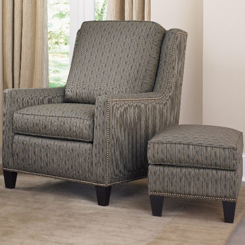 Smith Brothers Accent Chairs and Ottomans SB Transitional Stationary Chair and Ottoman with Nailhead Trim