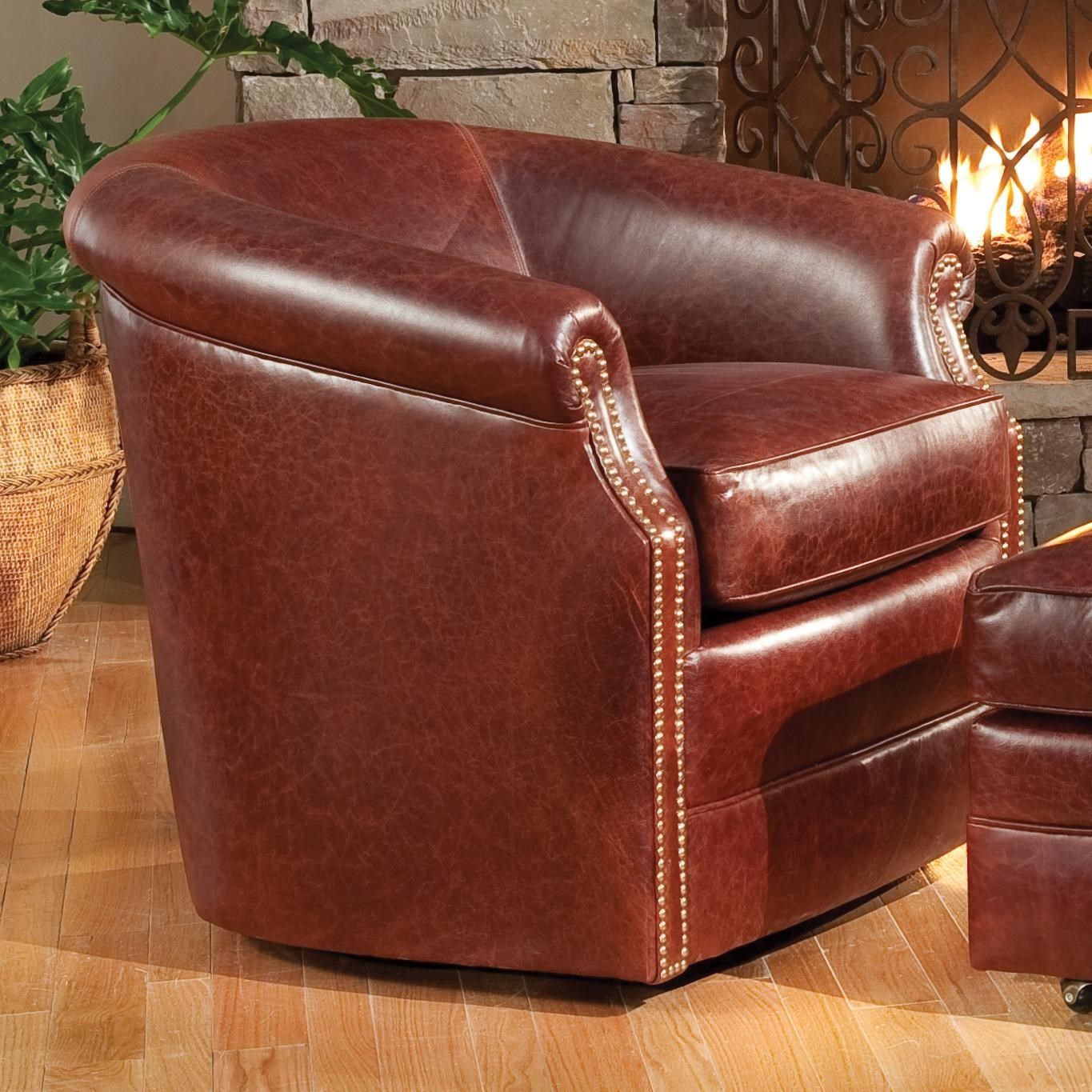 Barrel Swivel Chair with Rolled Arms