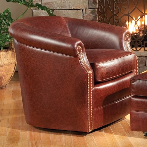 Smith Brothers Accent Chairs and Ottomans SB Barrel Swivel Chair with Rolled Arms