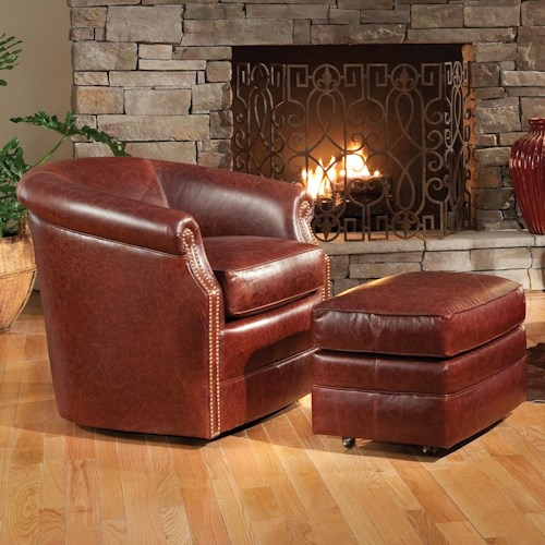 Smith Brothers Accent Chairs and Ottomans SB Barrel Swivel Chair and Ottoman with Casters