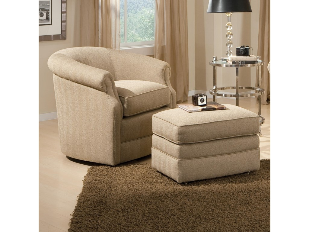 Smith Brothers Accent Chairs and Ottomans SBBarrel Swivel Chair and Ottoman