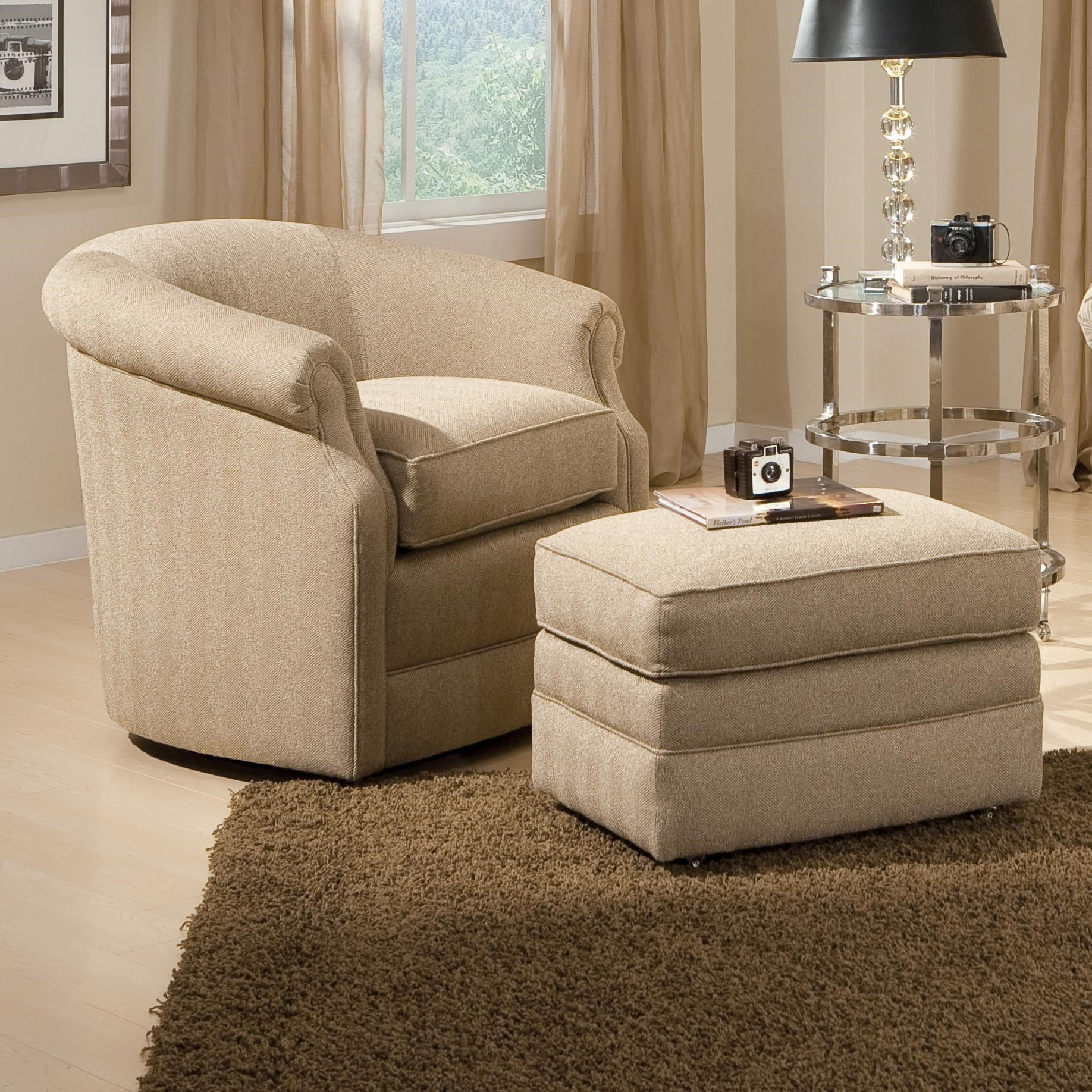 Awesome Smith Brothers Accent Chairs And Ottomans SB Barrel Swivel Chair And Ottoman  With Casters