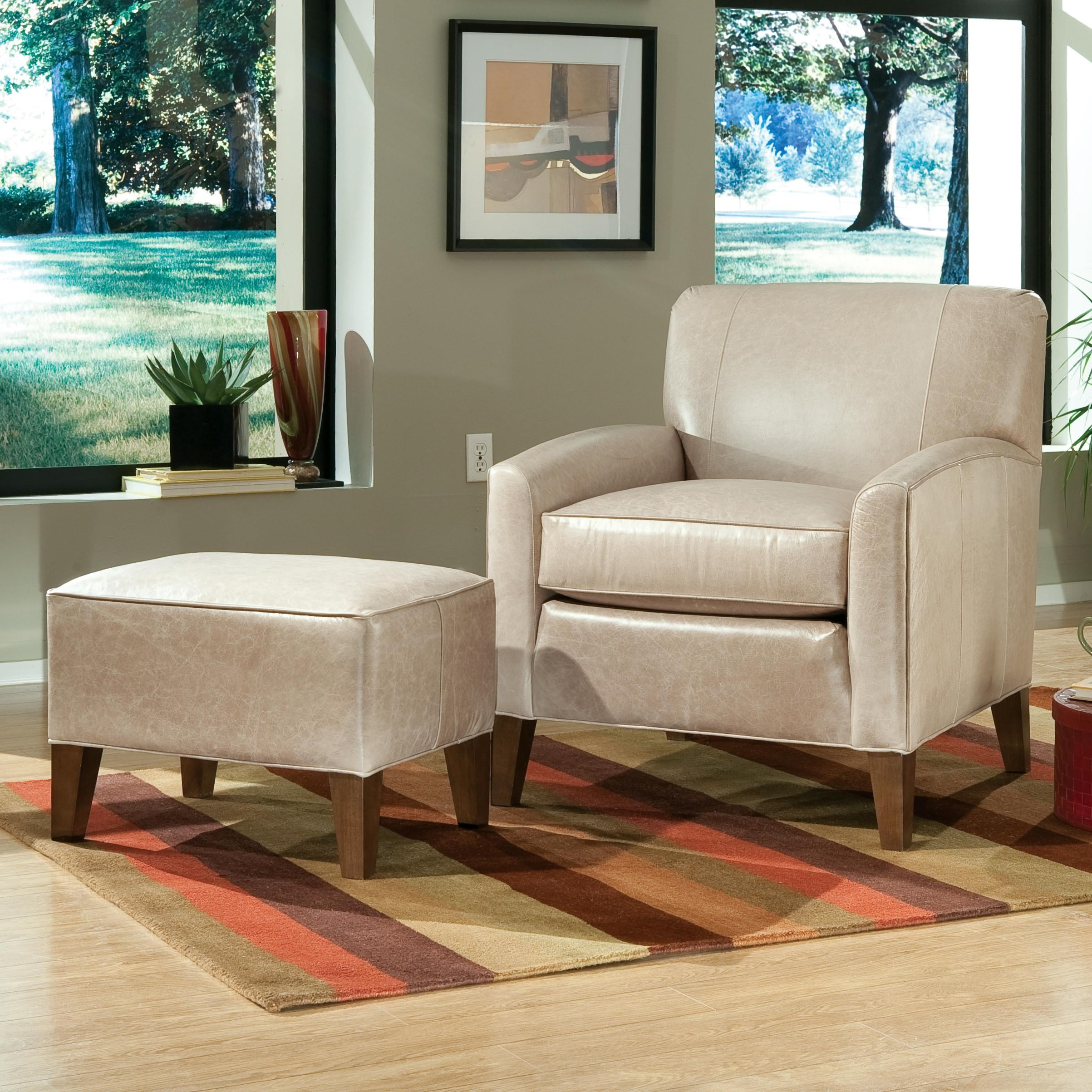 Smith Brothers Accent Chairs And Ottomans SB Contemporary Chair And Ottoman  With Tapered Wood Legs