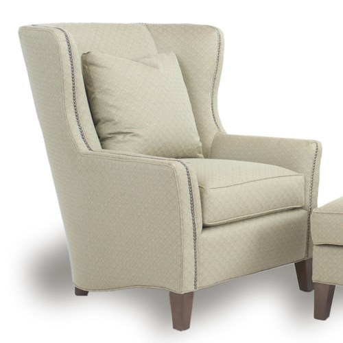 Smith Brothers Accent Chairs and Ottomans SB Contemporary Wingback Chair with Track Arms