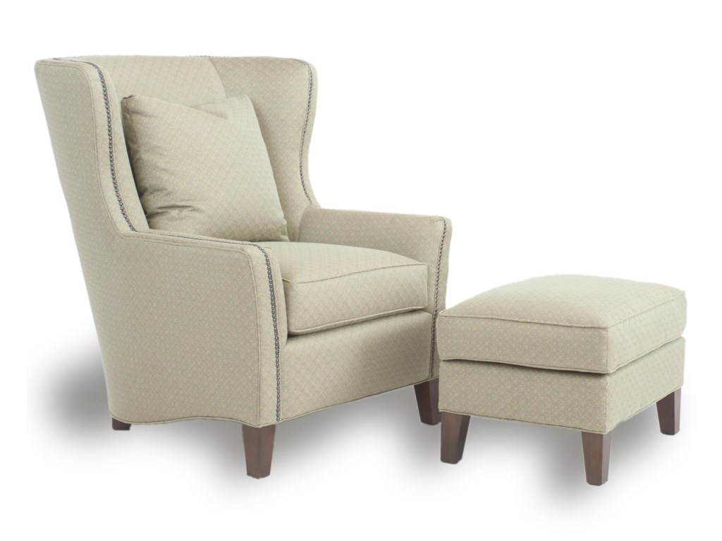 Accent Chairs.Accent Chairs And Ottomans Sb Wingback Chair And Ottoman By Smith Brothers At Dunk Bright Furniture