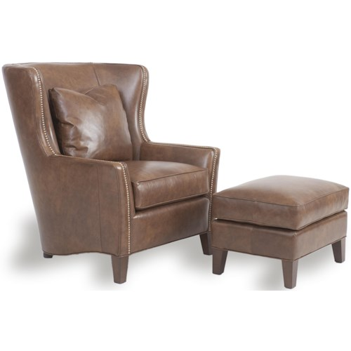 Smith Brothers Accent Chairs and Ottomans SB Wingback Chair and Ottoman