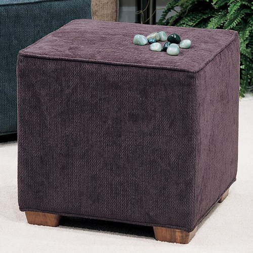 Smith Brothers Accent Chairs and Ottomans SB Square Ottoman with Block Wood Feet