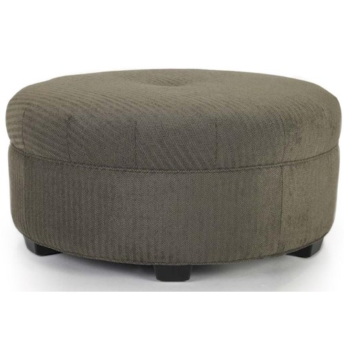 Smith Brothers Accent Chairs and Ottomans SB Traditional Round Cocktail Ottoman with Nailhead Trim