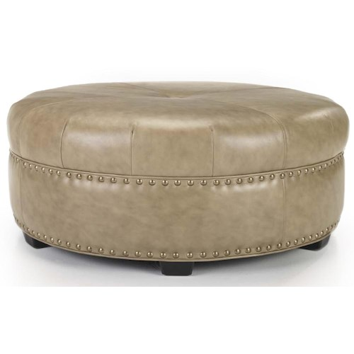 Smith Brothers Accent Chairs and Ottomans SB Round Cocktail Ottoman with Welt Cord