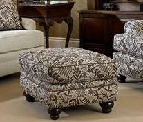 Smith Brothers Build Your Own (5000 Series) Upholstered Ottoman with Turned Leg