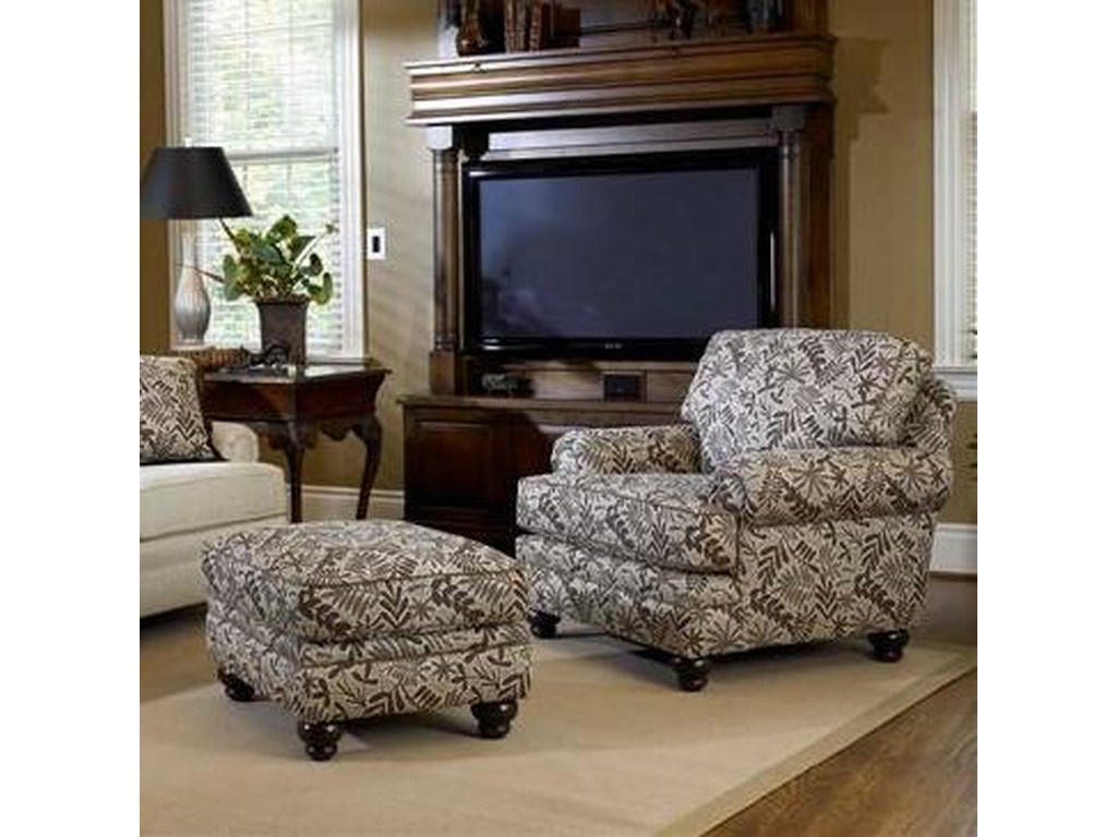 Smith Brothers Build Your Own (5000 Series)Upholstered Chair & Ottoman with Turned Legs
