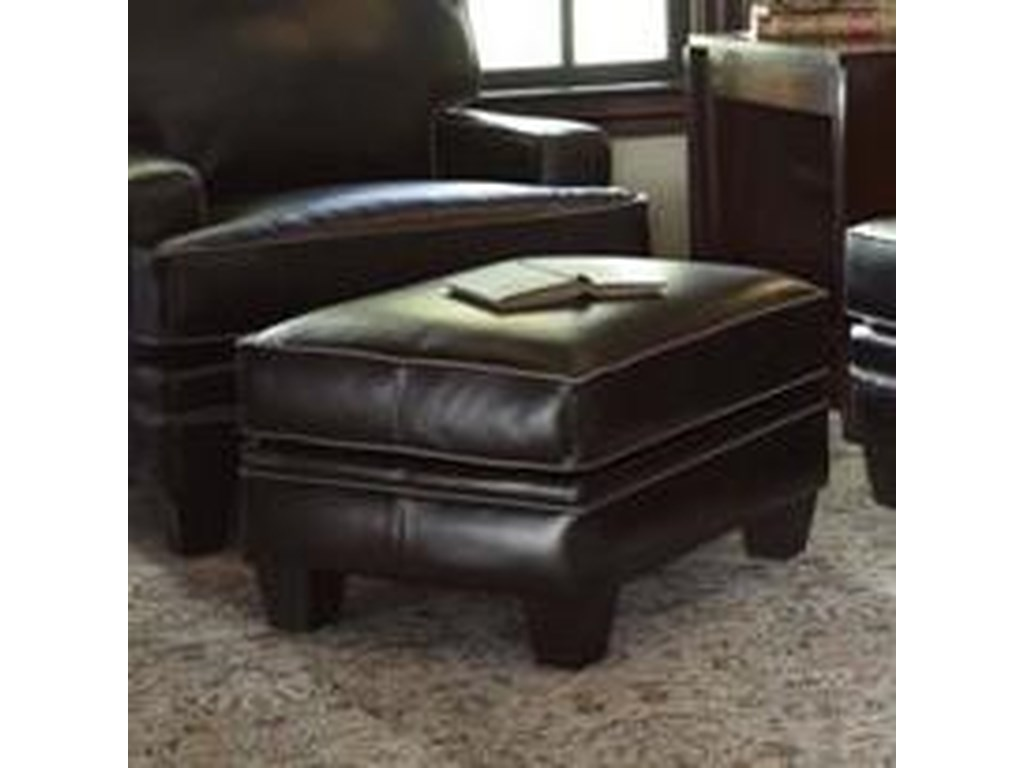 Smith Brothers Build Your Own (5000 Series)Upholstered Ottoman with Tapered Leg