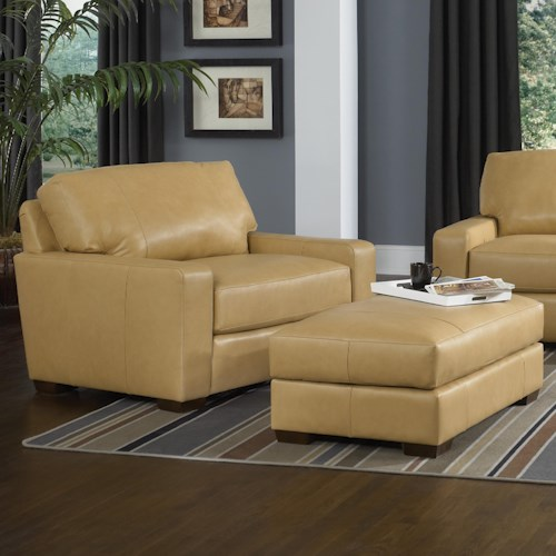Smith Brothers Build Your Own (8000 Series) Contemporary Chair and a Half and Ottoman Set