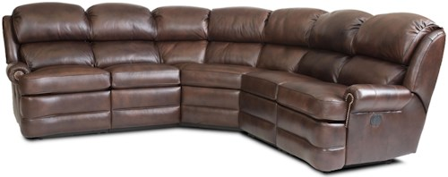 Smith Brothers Smith Brothers Transitional 5-Piece Reclining Sectional Sofa with Small Rolled Arms