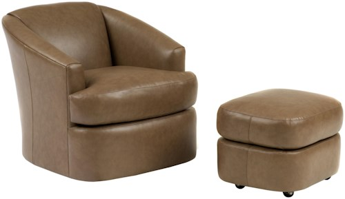 Smith Brothers Smith Brothers Contemporary Swivel Barrel Chair and Ottoman with Casters
