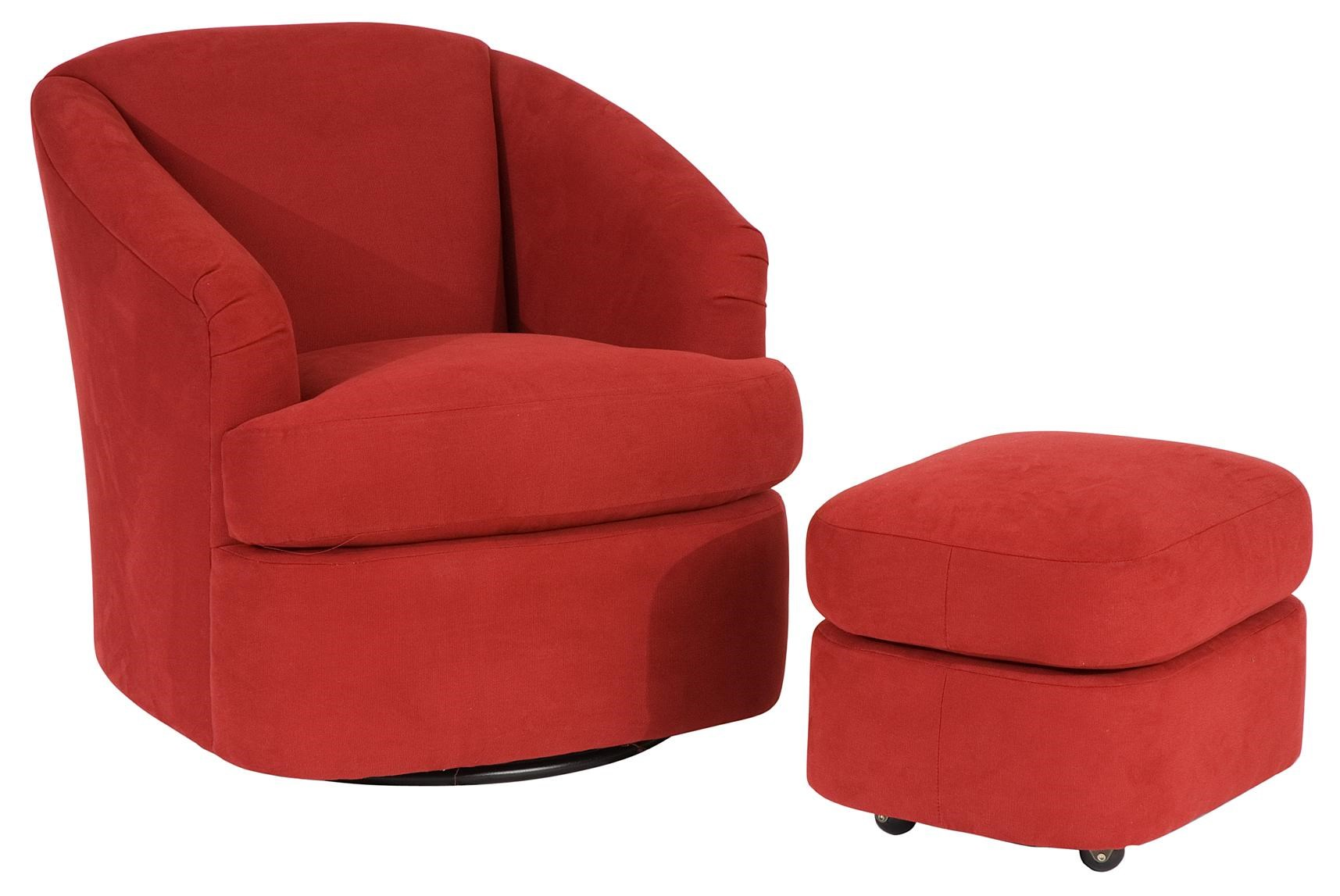 Smith Brothers Smith Brothers Contemporary Swivel Barrel Chair And Ottoman  With Casters | Saugerties Furniture Mart | Chair U0026 Ottoman Sets