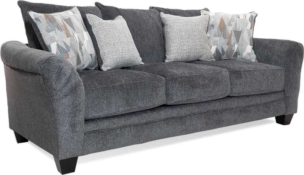 Casual Sofa with 4 Throw Pillows