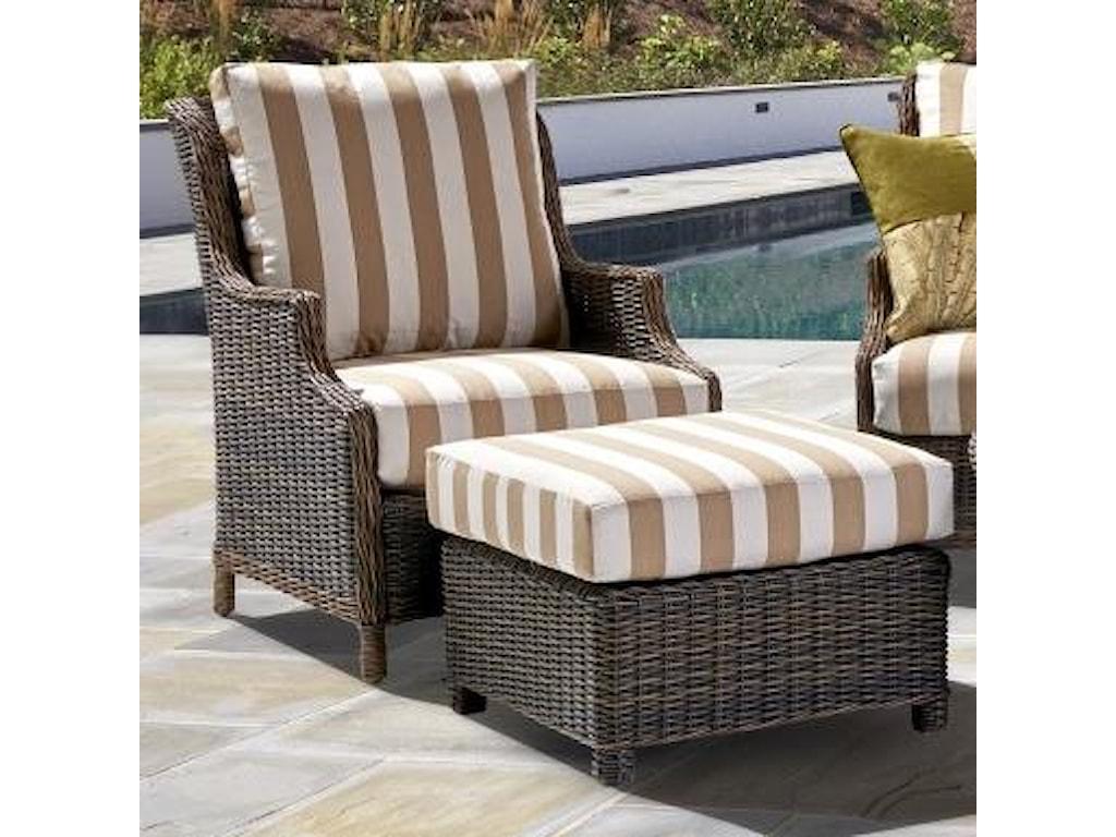 South Sea Rattan Wicker Barrington 7770 Outdoor Chestnut Chair And Ottoman