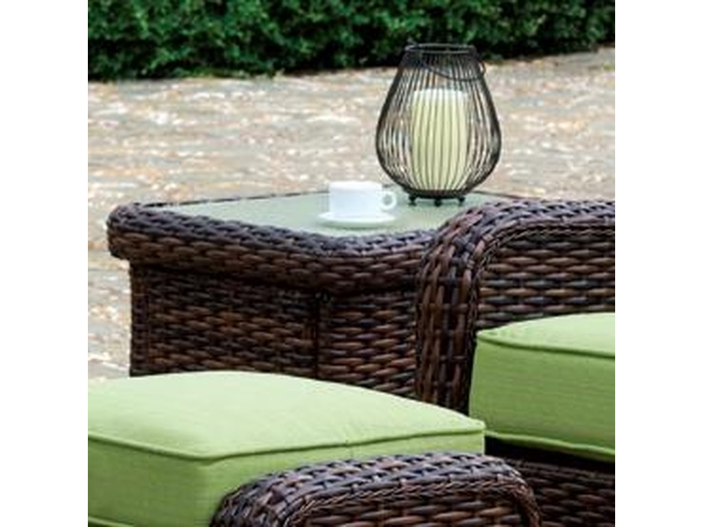 South sea rattan wicker st tropez outdoor end table with glass top
