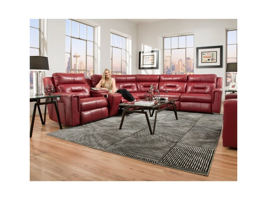 Southern Motion ExcelPwr Headrest Reclining Sectional w/ 5 Seats